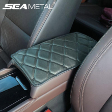 Universal Car Armrest Cover Mat Console Arm Rest Covers Soft Leather Sponge Protective Pad Mats Set Waterproof Auto Accessories