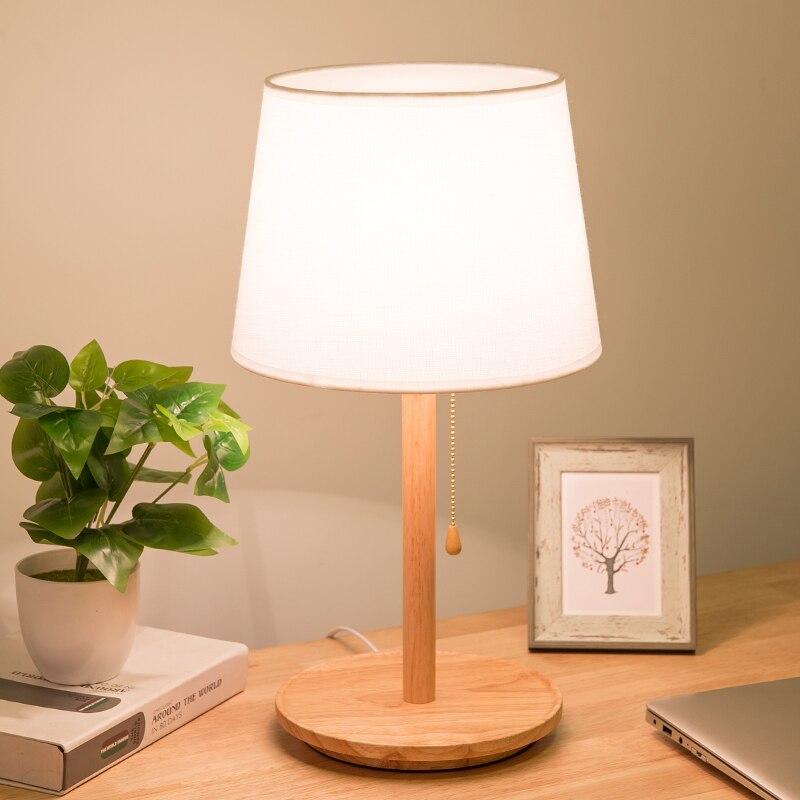 Led настольная креативная лампа для спальни романтическая деревянная защита глаз ins настольная лампа - 2