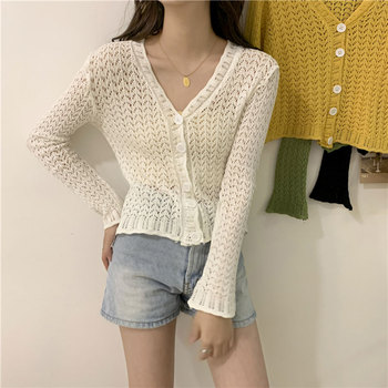 2020 Spring Hollow Out Ice Silk Knitted Blouse Women Thin Shirts Cardigan Long Flare Sleeve Single Breasted Cropped Tops