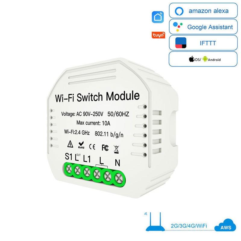 Wifi Smart Light Switch Universal Breaker Smart Life/Tuya APP Wireless Remote Control Work With Alexa Google Home DIY  1/2way