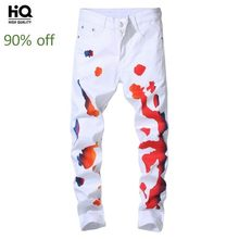 Hot Koop Casual Witte Jeans Mannen Mode Straight Leg Denim Hip Hop Broek Street Style Schilderen Rits Slim Fit Biker broek(China)