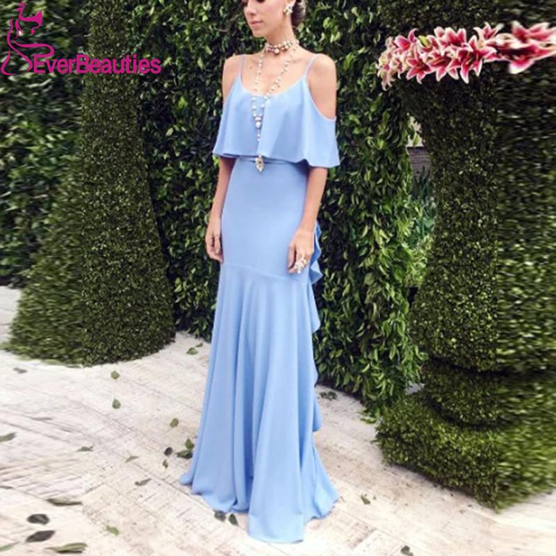Vestido Madrinha Blue Spaghetti Strap Bridesmaid Dresses 2020 Chiffon Wedding Guest Dress V-Back Ruffles Vestido De Festa