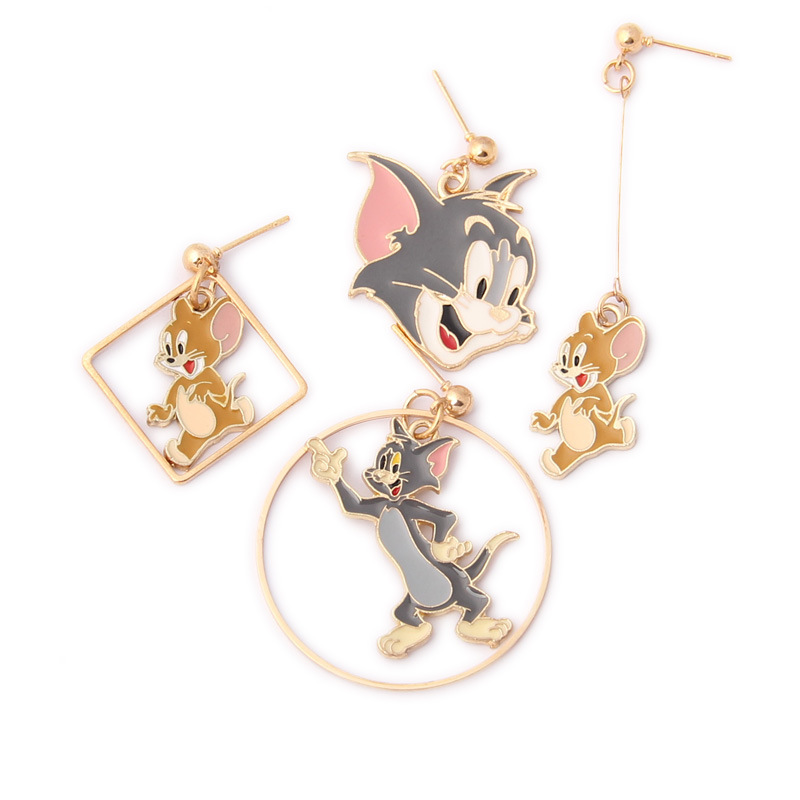 Hot Sale Classic Cartoon Anime Cute Cat And Mouse Asymmetry Animal Stud Earrings Girl Children Kids Gift Jewelry