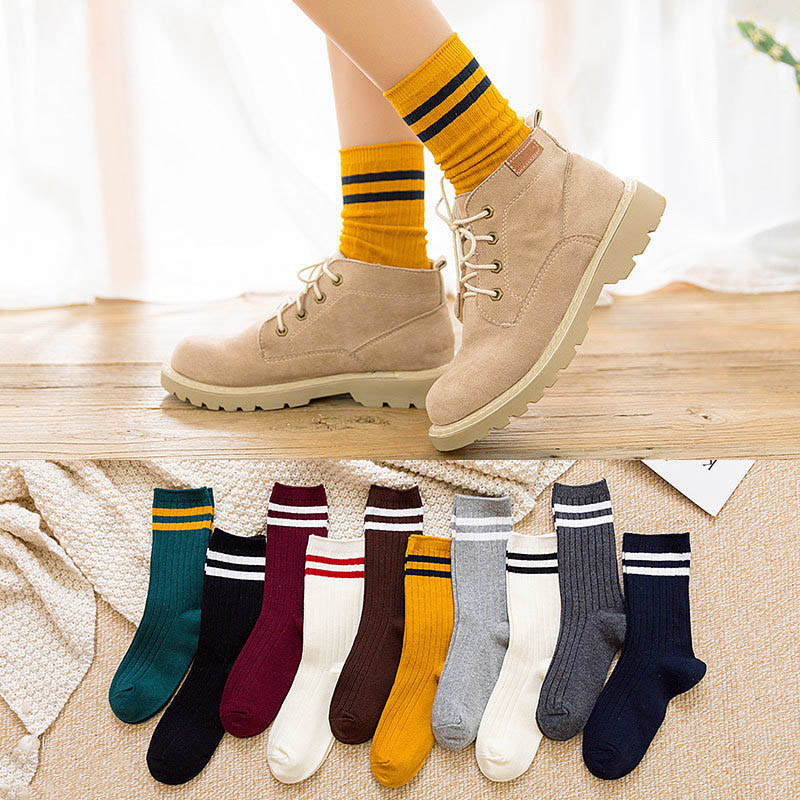 New Funny Japanese High School Girls Cotton Loose Striped Crew Long Socks Colorful Women Sox Harajuku Designer Retro YellowWhite