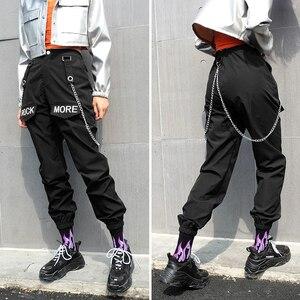 Image 3 - Rockmore calças cargo femininas estilo gótico, calças pretas coreanas com bolsos na corrente, calças de cintura alta, perna larga, feminina, para inverno outono