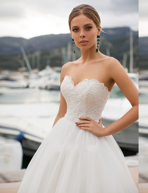 Ruby Cheap Vogue Ball-Gown Wedding Dress 2021 Strapless Sweetheart Auknia Slubna Lace-Up White Tulle Appliques Vestido Novia 3
