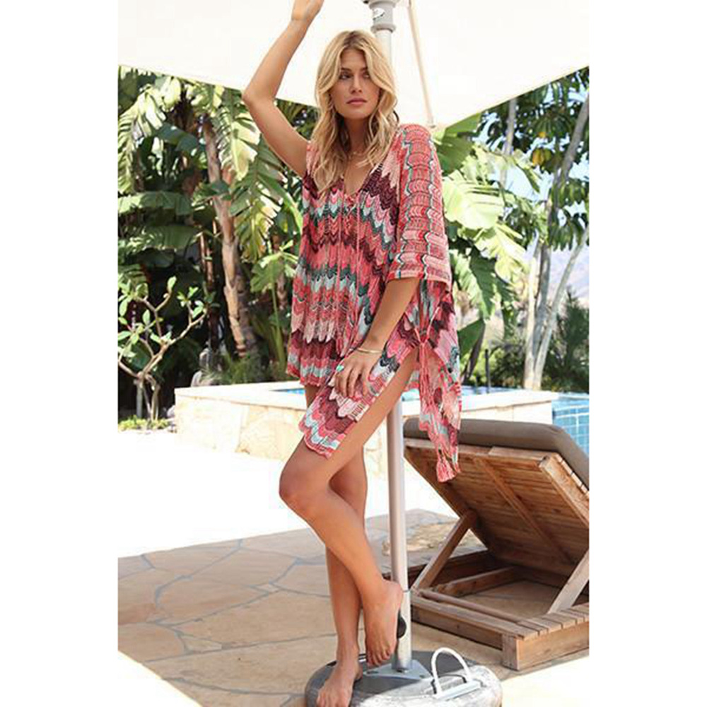 Sexy Beach Tunic Deep V Mesh Mini Dresses Knitted Cover Up 9