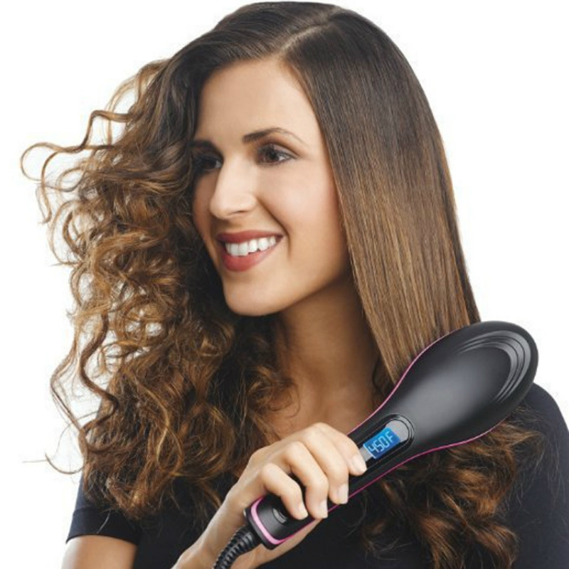 Drop Shipping Magic Hair Comb Electric Straight Hair Comb Negative Ion Comb Ion Hair Straightener Brush With Led Display
