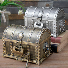 2 Layers Egyptian style lion head Vintage Jewelry Box with Lock Metal