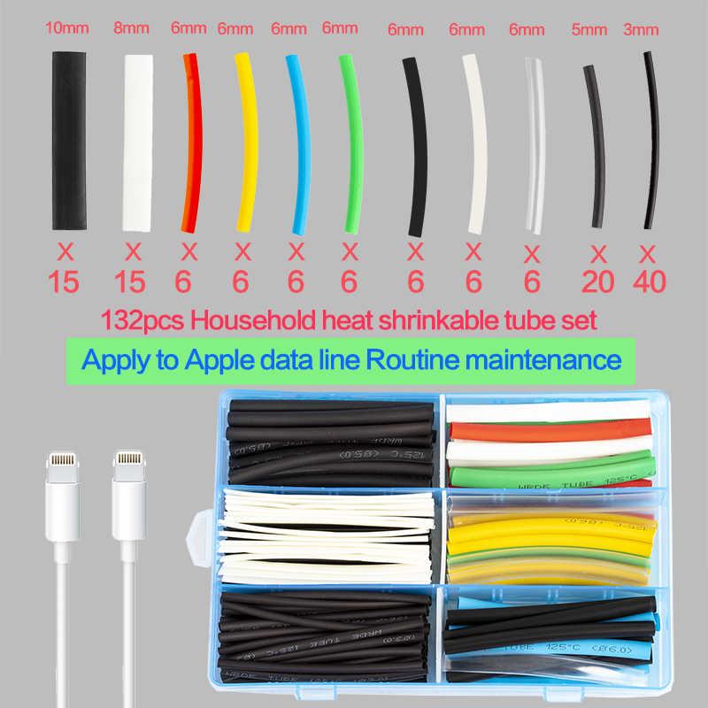 132Pcs Multicolor/สีดำAssorted Heat Shrink TubeสำหรับสายไฟสายเคเบิลSleevingชุดท่อความร้อน
