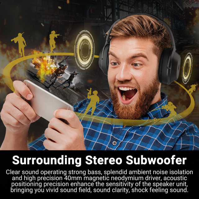 Langsdom BT25Pro Active Noise Canceling Headphones Wireless Bluetooth 38 Hours Play ANC Gaming Headset for PUBG Overwatch 6