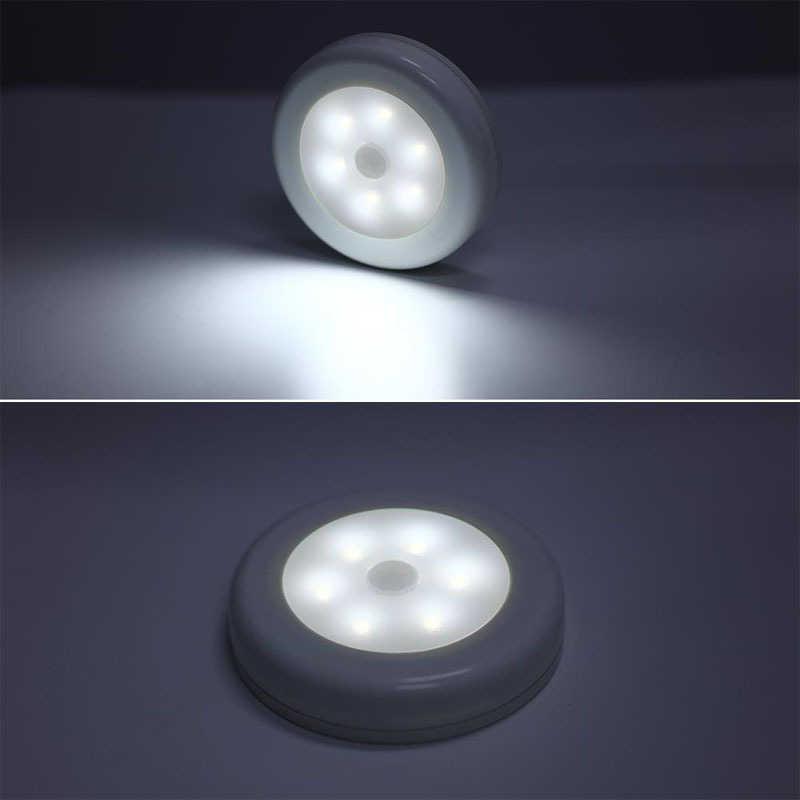 赤外線 pir モーションセンサーナイトライトワイヤレス検出器ライト 6 led ウォールランプ光自動オン/オフクローゼットバッテリー電源