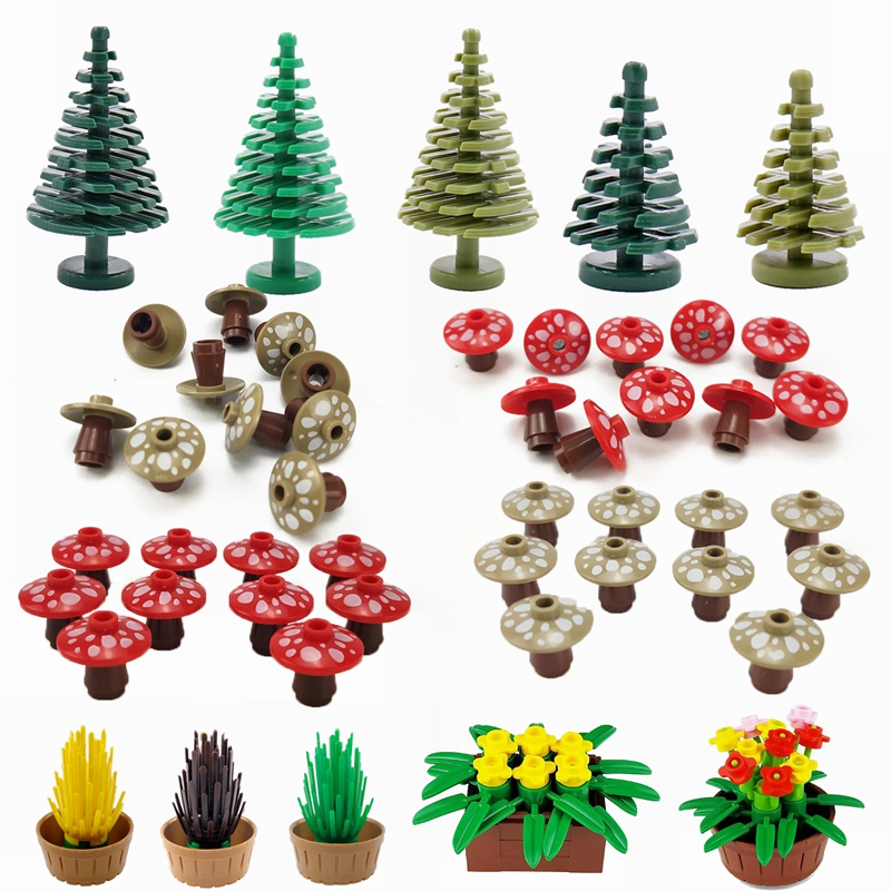 MOC Plants The Mushroom Pine Tree Flowers Building Blocks Toys for Children Assemble Blocks DIY Gifts Kids Toy