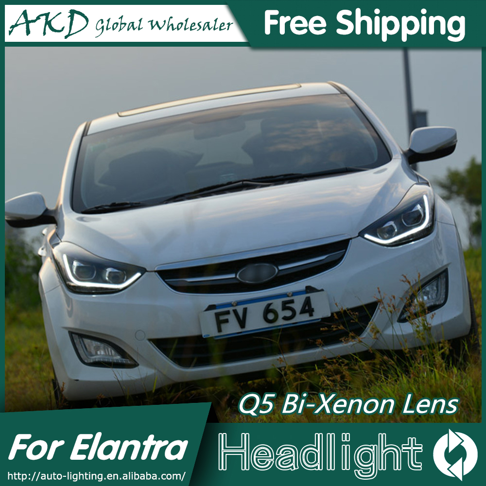 AKD Car Styling For Hyundai Elantra Headlights New Elantra MD LED Headlight DRL Q5 Bi Xenon Lens High Low Beam Parking Fog Lamp