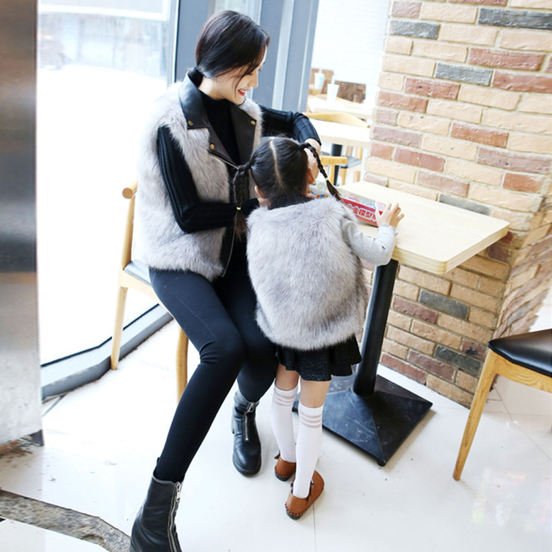 Autumn And Winter Fox Fur Sleeveless Vest Faux Fur PU Leather Stitching Vest Female 2019 Short Fashion Lapel Imitation 25