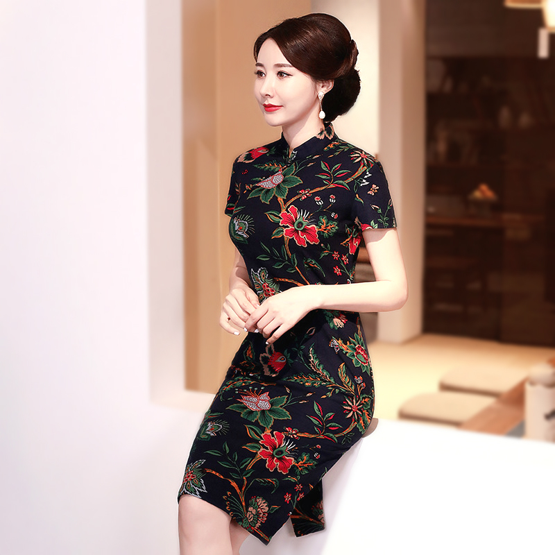 Sheng Coco Ladies Navy Blue Linen Cotton QiPao Chinese Oriental Dress Print Short Sleeve Vintage Cheongsam Short Party 5XL