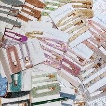 Pince à cheveux géométrique en acrylique pour femmes et filles, élégant, coloré, doux, épingles, bandeau, Barrettes, accessoires de mode, 3, pièces/ensemble