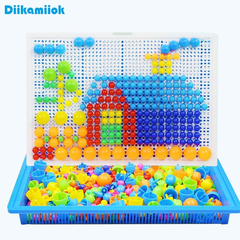 296 шт. пластиковая мозаика, игра-головоломка, цветное познавание, Интеллектуальные развивающие игрушки для детей, Грибная коробка для ногте...