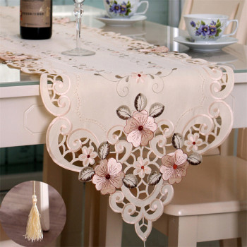 Embroidered Table Runner Tablecloth For Wedding Party Decoration Vintage Floral Lace Tassel Table Runner New Year Decor For Home european retro luxury table runner multi spike tassel pendant fashion classic coffee table decor noble jacquard table runner