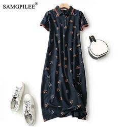 Maxi Dresses For Women Plus Size Dress Print Polo Vestido Casual Straight Female Pockets Cotton Elegant Summer Clothes For Women