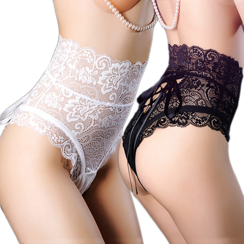 Large size sexy high waist lace tight woman   panties   sexy sexy underwear ladies thongs and hollow underwear   panties   women