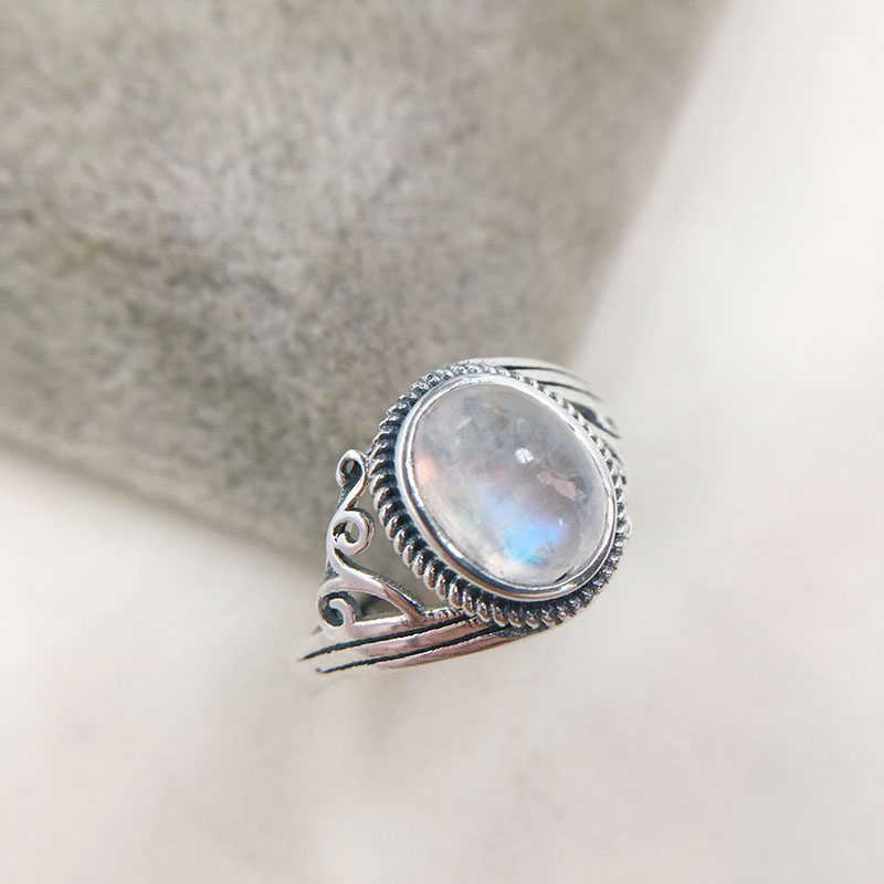 Rings Moonstone Vintage Jewelry Wedding-Engagement 925-Sterling-Silver Women for Finger-Bague title=