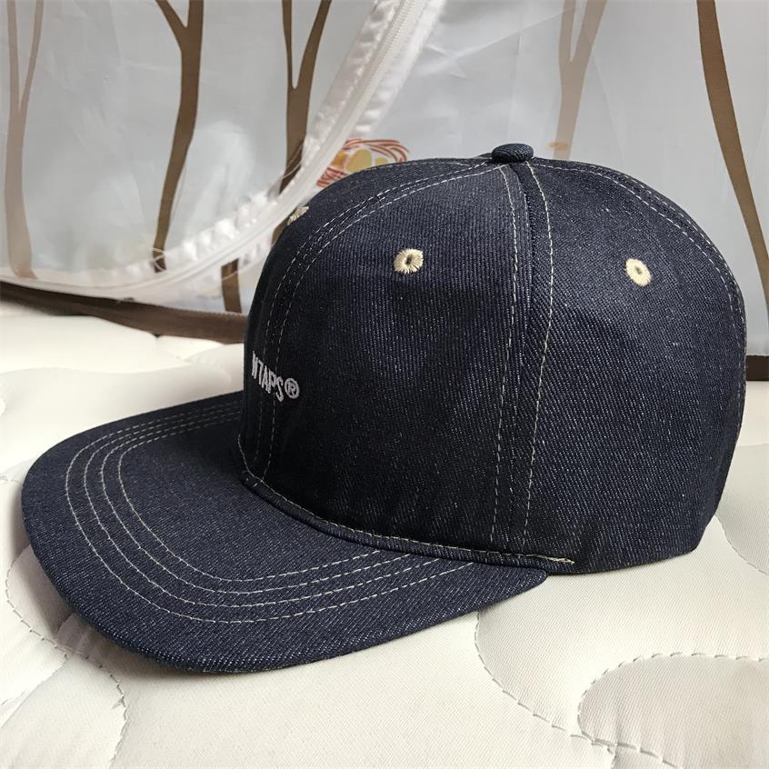 Image 3 - WTAPS джинсовая бейсбольная кепка с плоским краем, мужская и женская Кепка с вышивкой для папы, хип хоп бейсболки для водителя грузовика, кепки для гольфа, уличные регулируемые HarajukuМужские бейсболки    АлиЭкспресс