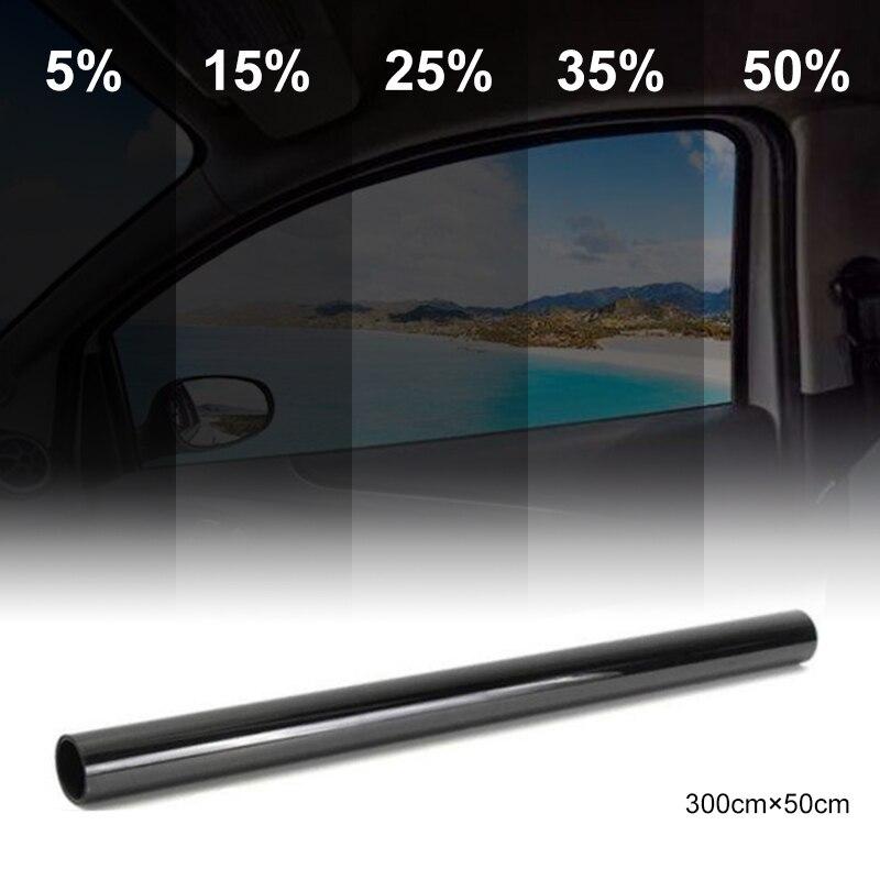 50 см x 300 см, темно-черная тонированная пленка для окна автомобиля, стекло 5%-50% в рулоне, летний автомобиль, авто дом, окна, тонировка, Солнечная защита