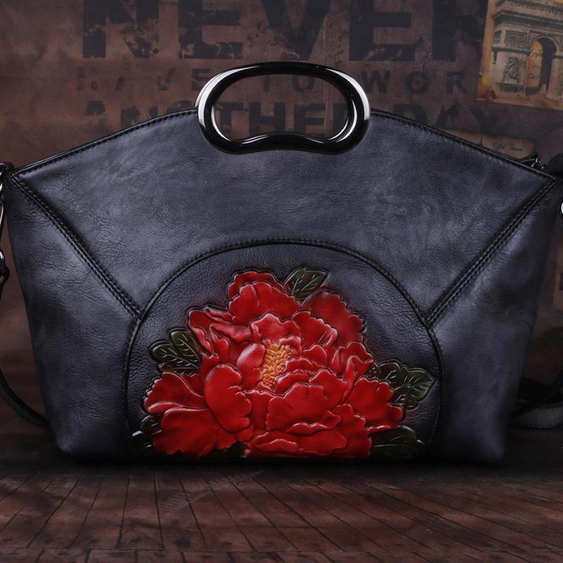 Image 4 - Johnature Luxury Handbags Women Bags Vintage High Quality Genuine  Leather 2020 New Handmade Embossing Shoulder