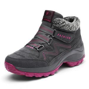Image 1 - Frauen Winter Schuhe Keil Wildleder Stiefel Nicht Slip Damen Schuhe Warme Plüsch Knöchel Schnee Stiefel Wasserdicht Wandern Stiefel WJ016