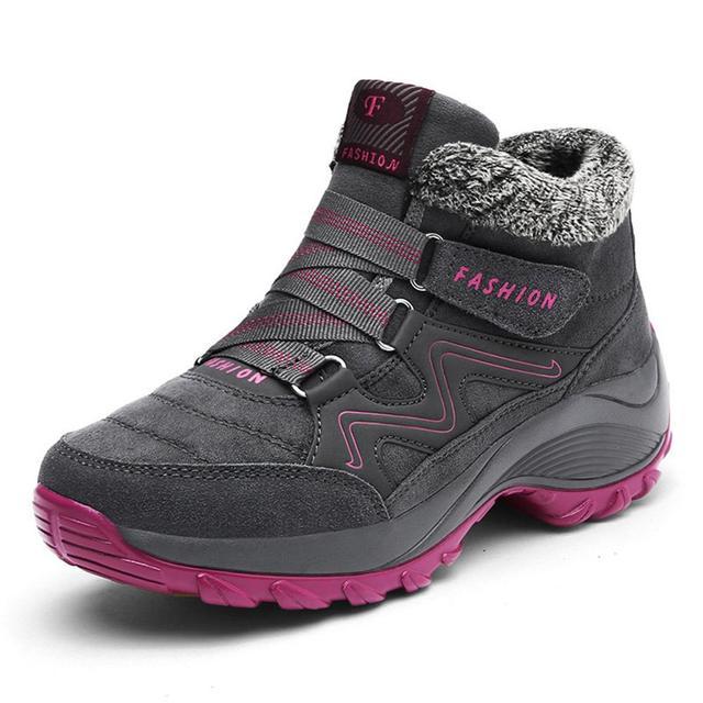 Frauen Winter Schuhe Keil Wildleder Stiefel Nicht Slip Damen Schuhe Warme Plüsch Knöchel Schnee Stiefel Wasserdicht Wandern Stiefel WJ016