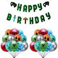 Воздушные шары с пиксельными рисунками из мультфильмов, тематические шары на день рождения, баннер, гирлянда, украшения вечерние ринки, бан...