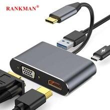 Адаптер-концентратор Rankman Type-C на HDMI, 4K VGA USB C 3,0 для MacBook Nintendo Samsung S9 Dex Huawei P20 xioami 10 TV