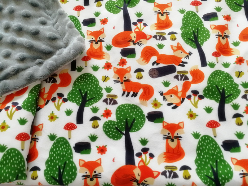 75120cm Forest Fox Print Baby Minky Blanket Coral Fleece Newborn Swaddling Infant Receiving Blanket Kids Quilt Bedding Crib Blankets (5)