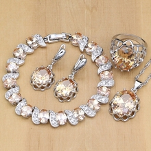 925 Silver Bridal Jewelry Sets Champagne Zircon Earrings For Women /Pendant/Necklace/Rings/Bracelet Indian jewelry