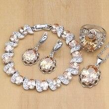 925 bijoux de mariée en argent ensembles Champagne Zircon boucles doreilles pour femmes/pendentif/collier/anneaux/Bracelet bijoux indiens