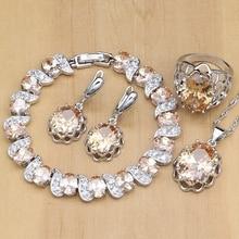 925 gümüş gelin takı setleri şampanya zirkon küpe kadınlar için/kolye/kolye/yüzük/bilezik hint takı