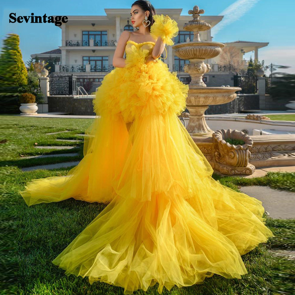 Sevintage Yellow Ruffles Tulle Evening Dresses Ball Gown Tiered Skirt Plus Size Prom Gowns 2021 Formal Special Occasion Gowns