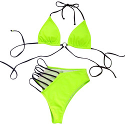 Женский Бандаж с металлической пряжкой, бикини, пуш-ап, с подкладкой, купальник, пляжный костюм, комплект из двух предметов, купальник, сексу... 3