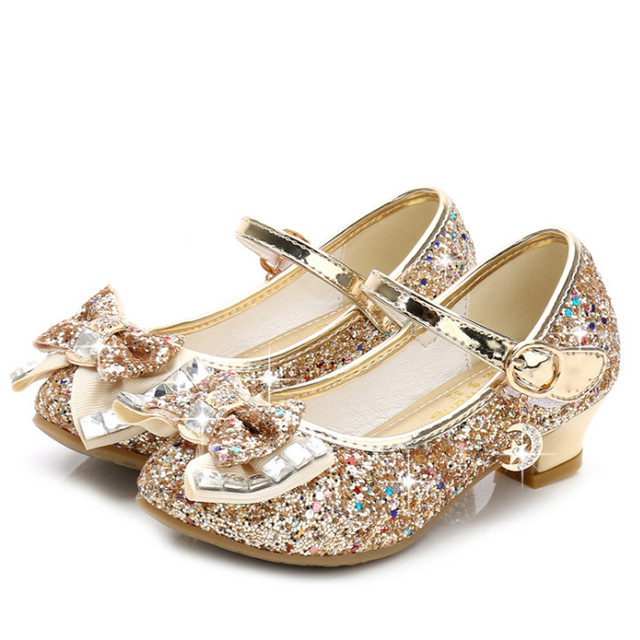 Children Princess Shoes for Girls Sandals High Heel Glitter Shiny Rhinestone Enfants Fille Female Party Dress Shoes 4