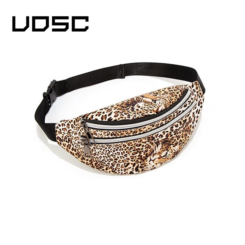 UOSC Leather Leopard Belt Bag Women Fashion Zipper Waist Bags Women Designer Fanny Pack Fashion Belt  Chest Bag Phone Female