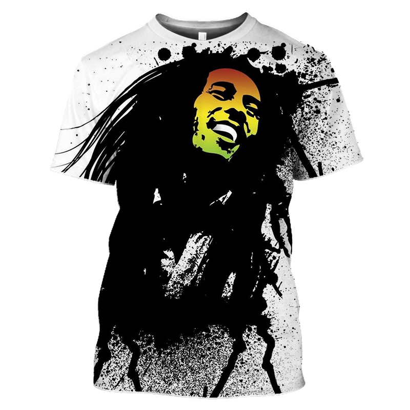 Bob Marley Rock Hip Hop T Shirt Men Male Summer Plus Size Streetwear Casual Short Sleeve Round Neck Weeds Reggae Star T-Shirt (37)