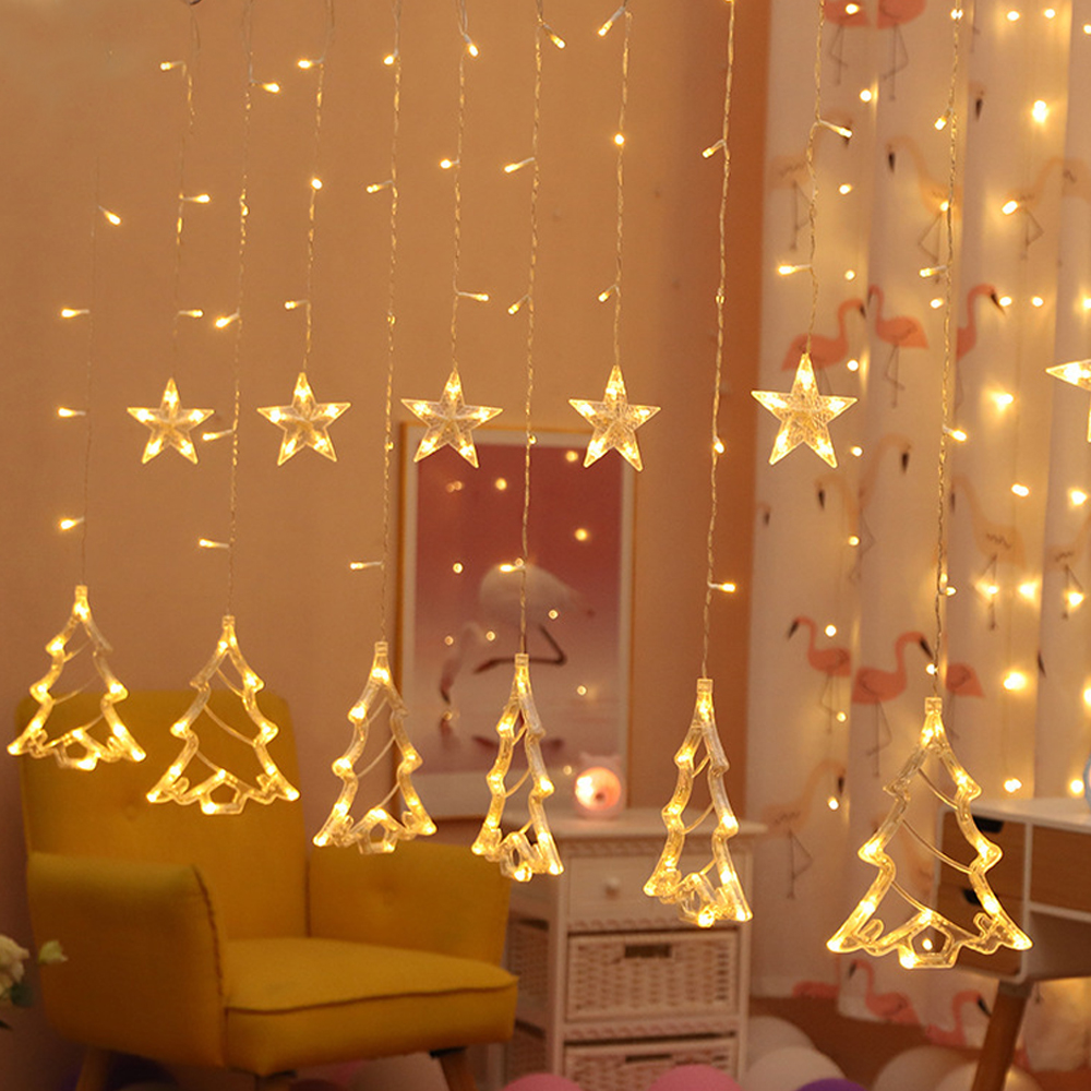 Elk Bell Stars String Light LED Christmas Decor For Home Hanging Garland Christmas Tree Decor Ornament Christmas Gift New Year