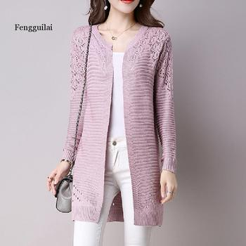 цена на Fall Women Cardigan Solid Color Hollow Out Sweaters Size S-XXL Poncho Full Sleeve Open Stitch Female Knitted Outerwear
