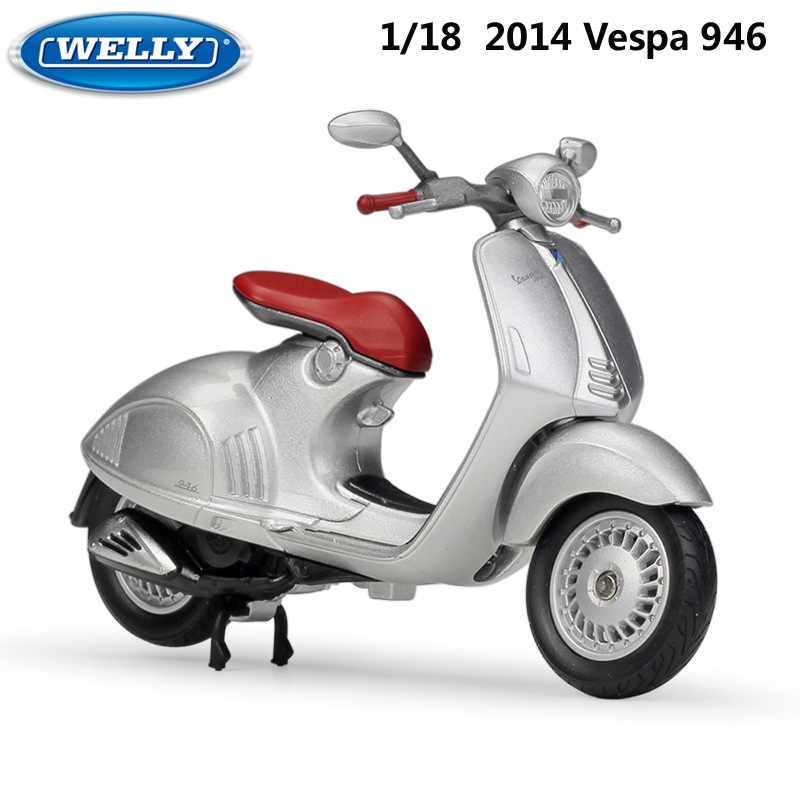 WELLY Diecast 1:18 Motorcycle Toy VESPA 946/125CC/150CC Simulator Bike Alloy Model Car Metal Toys For Children Gift Collection