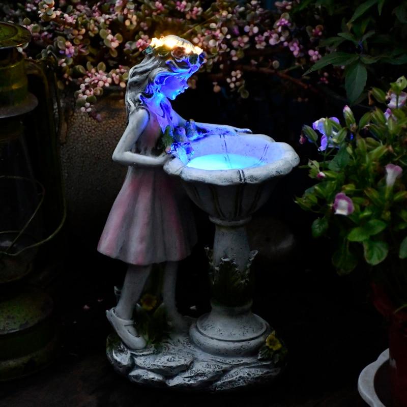 Criativo jóias flor de fadas energia solar ornamento resina anjo figura escultura ao ar livre villa jardim decoração