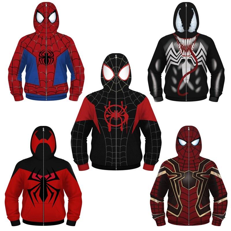 Куртка для мальчиков в маскарадном стиле с изображением яда Человека паука, костюм Капитана Америки, Железного человека, Детская куртка с капюшоном из полиэстера, свободная верхняя одежда для мальчиков большого размера|Куртки и пальто|   | АлиЭкспресс