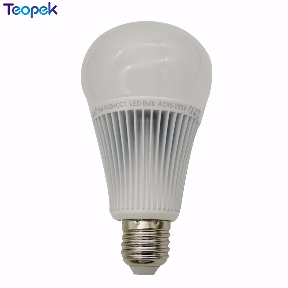 Miboxer E27 9W RGB+CCT 2 in 1 Smart LED Bulb <font><b>FUT012</b></font> 2.4G Wireless AC85-265V +4-Zone 2.4G RF Controller image