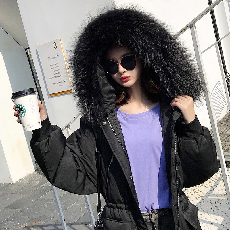Winter Female Duck Down Jacket + Natural Raccoon Fur Thick Warm Women's Down Jacket Fashion Ladies Long Coat Hiver DKD16