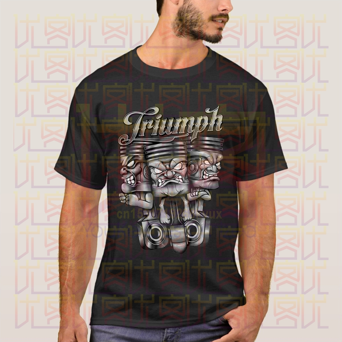 Triumph Motor Cycle T-Shirt Biker Style Sizes Small To 5xl Three Pistons Design